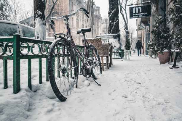bicycle on snow covered street